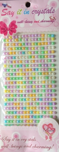 Assorted Pastel Shades Self Adhesive Coloured  Pearls approx 6mm