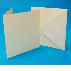 7 X 7 Ivory Scallop Card and Envelope Pack x 6