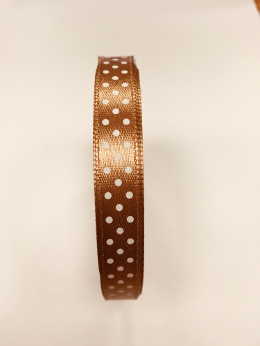Mocha Brown 10mm x 12m Spotted Ribbon