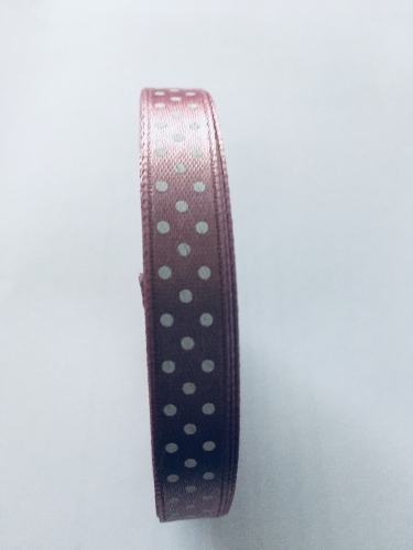 Dusky Pink 10mm x 12m Spotted Ribbon