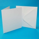7 x 7 White Scalloped Card and Envelope Pack x8