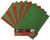 10 Sheets of Red & Green A4 Glitter Card